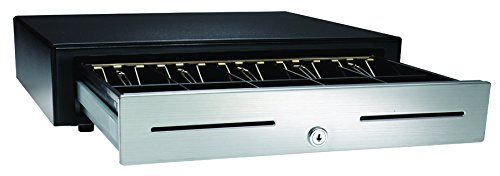 APG VBS320-BL1616 Vasario Series Standard-Duty Stainless-Steel-Front Cash Drawer with MultiPRO 320 Interface, 24V, 16.2' x 4.3' x 16.3', Black