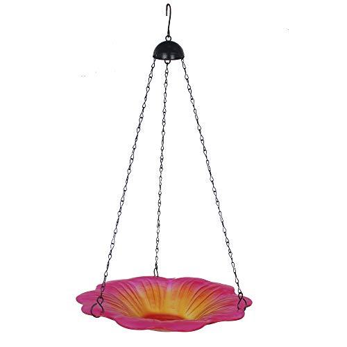 TB TIBAG Vogelfutterstation für Vogeltränke aus Glas, 27,9 cm, Vogelfutterschale mit Kolibri, Blume, Gartendekoration
