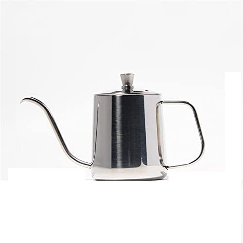 350 / 600ml Acero inoxidable Mano Potencia Pote de boca largo Kettle Kettle Fabricante de café Tetera Costa de cuello de cuello de cisne (Color : 350ml Silver)