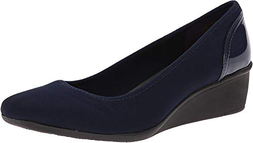 Anne Klein Sport Women's Wisher Fabric Wedge Pump, Navy, 10.5 M US