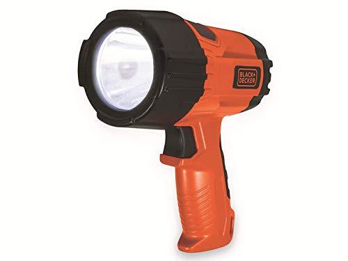 Black und Decker SLV5 LED Kompakt Taschenlampe Handscheinwerfer 325Lumen, Suchscheinwerfer Handlampe Wasserdicht,3W Li-Ionen Akku, Baustrahler 4Std Laufzeit, Arbeitslampe Strahler, 2 Leuchtmodi