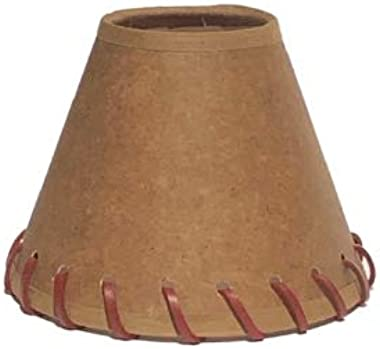 Upgradelights Oiled Parchment 5 Inch Tapered Drum Clip On Chandelier Lamp Shade with Stitched Trim