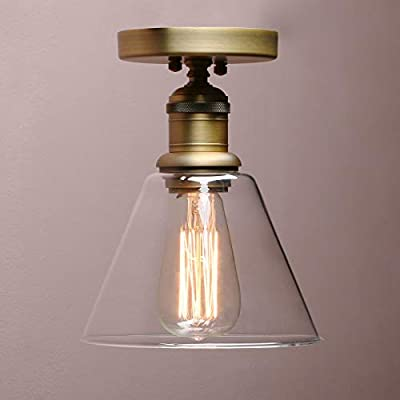 Vintage Wall Sconce, Yosoan 1-Light Industrial Semi Flush Mount Ceiling Light Fixture Pendant Lighting with Funnel Flared Clear Glass Shade
