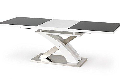 Mesa de comedor exclusiva de acero inoxidable y cristal blanco brillante