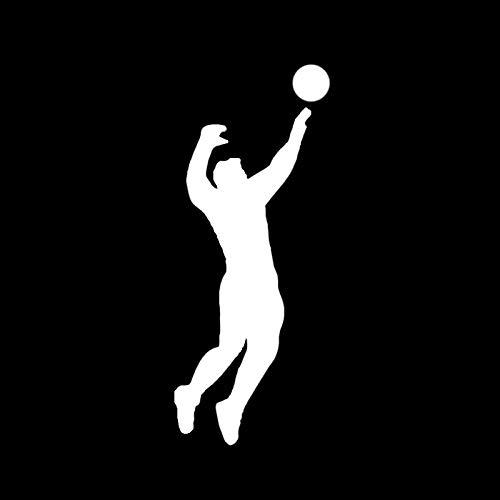 VCHSH Calcomanías interesantes 6 * 14.7cm Player de Voleibol Pegatina de automóvil Deportiva Etiquetas engomadas de la Motocicleta Pegatinas Coche Tuning (Color : Silver)