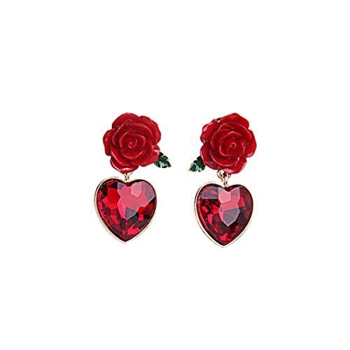 VIWIV Pendientes Material de aleación Pendientes creativos Flor roja En forma de corazón Colgante de piedras preciosas Estilo europeo y americano Accesorios de moda romántica Turismo conmemorativo Muj