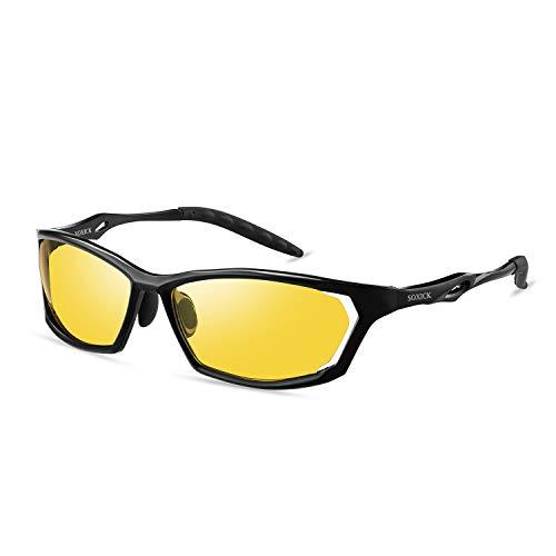 スポーツサングラス 夜間運転用・ナイトドライビング・夜釣り・ナイトウォーキング用 Soxick HD ドライブ UVカット・イエローレンズ・黄色・メガネケース付き メガネ (ブラック390)