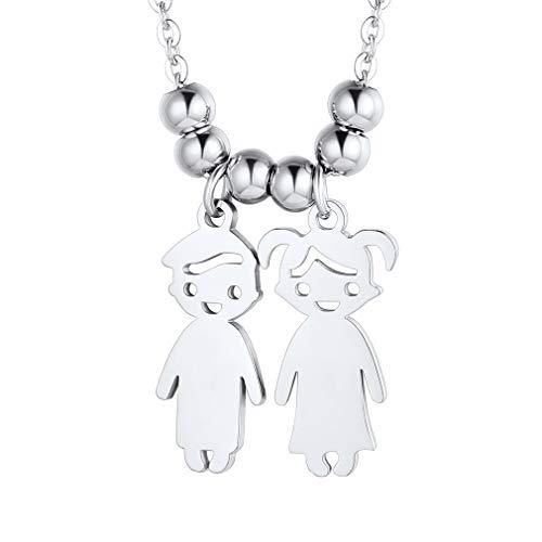 Custom4U Figura Dos Niños Collar Moderno Acero Inoxidable 316L Colgante Romántico de Cumpleaños de Madre Collar Personales de Bebés Plateado