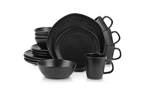 Stone Lain Organic Shape Weave Embossed Stoneware Dinnerware Set, Round Service for 8, Black