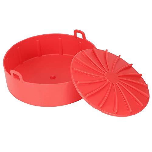 Olla de silicona para freidora de aire, canasta de repuesto para freidora de aire Revestimiento de horno de freidora de aire redonda Reemplazo de papel de revestimiento de pergamino(rojo)