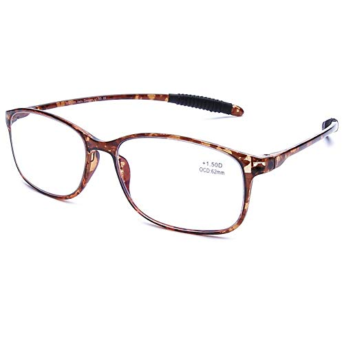 DOOViC Blaulichtfilter Computer Lesebrille Braun Schildkröte/Eckig Rahmen Leichte Brille/Lesehilfe/Sehhilfe mit Stärke für Herren 3,0