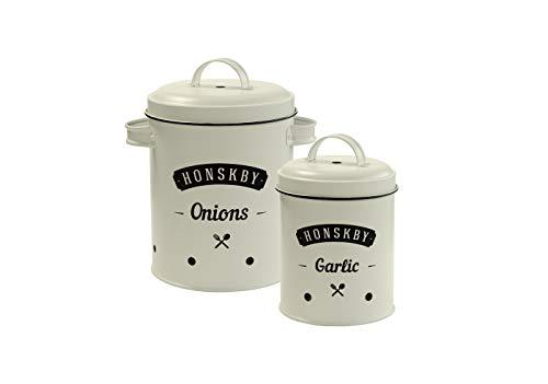 Honskby Zwiebeln & Knoblauch Vorratsdosen Set - Elegante Vintage Qualität Design Dose zur Aufbewahrung von Zwiebeln und Knoblauch - Aufbewahrung Küche