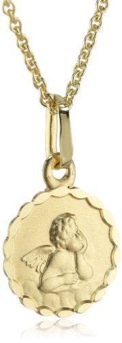 Xaana Kinder und Jugendliche-Anhänger Schutzengel 10 mm 8 Karat (333) Gelbgold + 925 Silberkette vergoldet AMZ0212
