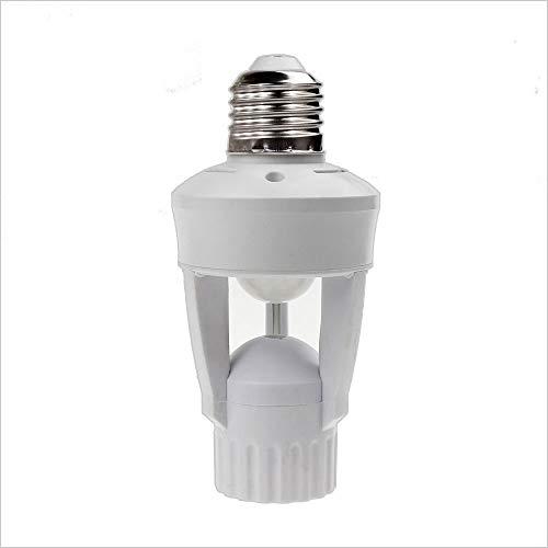 PIR Motion Sensor Light Socket,E26/E27 Lamp Bulb Holder Adapter, Motion Sensing Activated Light Socket,Auto On/Off Security Light Control Indoor Use, For Front Door Garage Basement Hall
