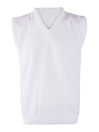 Rimi Hanger Mens Lawn Bowling Sleeveless V Neck Knitted Vest Top Adults Ribbed White Sweater White X Large