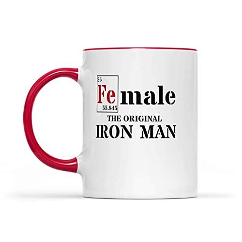 N\A FE (Macho) Accent 11oz Tazas Mujer - La Taza de café Original de Iron Man Acento Rojo de cerámica - Fuerte Mujer de la Idea del Regalo Taza de café
