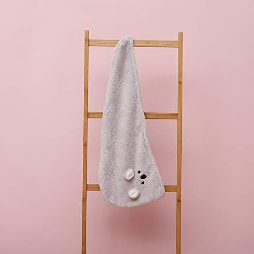Ltjqsm Peafowlblue Girl Súper absorción Turbante Secado de Pelo Toalla de Secado rápido Dibujos Animados Koala Microfibra Toalla de Pelo Rosa (Color : 01 Gray, Size : 3Pcs)
