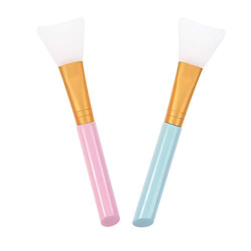 JIAHAO Lot de 2 pinceaux en silicone pour masque de visage, boue, masque à l'argile, masque de modelage, lotion corporelle sans poils, applicateur de beurre