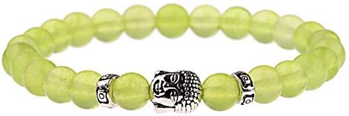 KEEBON Pulsera de Piedra Mujer, 7 Chakra 8mm Natural Green Green Crystal Bead Bangle Bangle Buddha Joyería Tibetan Mala Joyería Orga de Yoga Energía Reiki Charm Regalo para Hombres