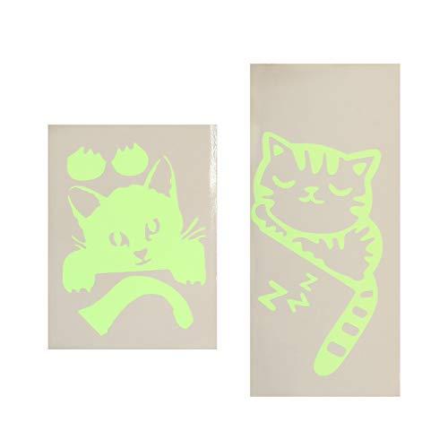 PRETYZOOM 2 pegatinas de pared únicas de dibujos animados luminosos gato interruptor pegatinas de pared