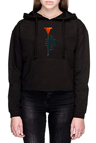 Rundi Trompete Blume Damen Bauchfreies Crop Sweatshirt Kapuzenpullover Schwarz Größe XS - Women's Crop Sweatshirt Hoodie Black