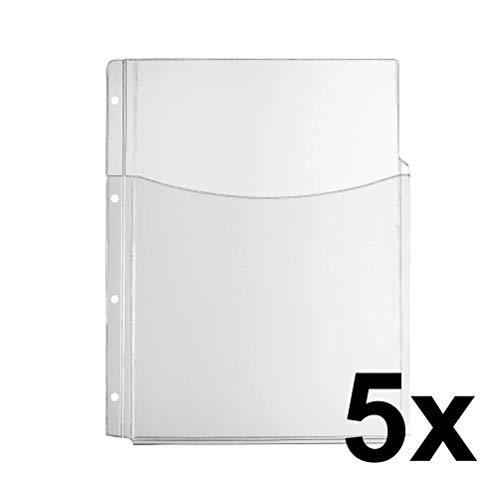 Original Falken 5er Pack Premium PP-Kunststoff Faltentasche. Für DIN A4 transparent glasklar oben offen mit halber Tasche Klarsichtfolie Plastikhülle Klarsichthülle ideal für Ordner und Hefter