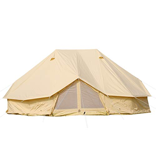 UNISTRENGH UNISTRENGH Large Luxury 6M Cotton Canvas Camper Tent Waterproof Bell Tent with 3 Doors for 8-12 People Camping,Hiking and Family Party