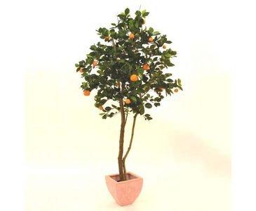 kunstpflanzen-discount.com AUSLAUF - Mandarinenbaum mit Naturstamm, Kunstbaum mit 15 kleinen und 8 grossen Früchten, Höhe 150cm, mit Zementfuß