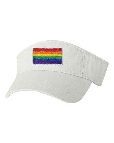 Adjustable White Adult Rainbow Gay & Lesbian Pride Flag Embroidered Visor Dad Hat