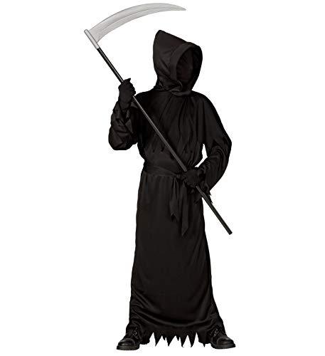 24costumes Kinder Sensenmann Kostüm | Grim Reaper Kostüm 3-teilig inkl. Sense | Halloween Karneval und Mottoparty: Größe: 158