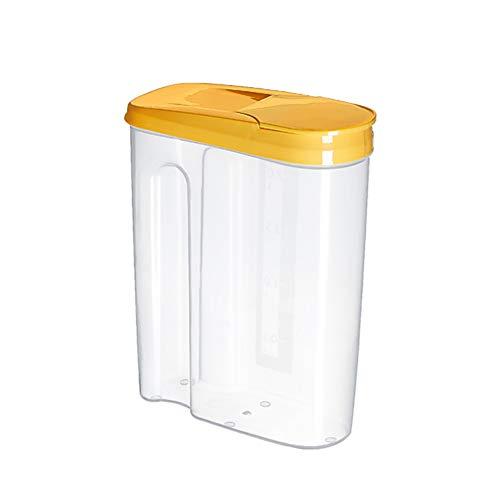 Dracod Tarro de plástico, tarros de cristal para almacenar pasta, cereales, arroz, harina y alimentos para mascotas, color amarillo