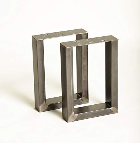 1 Paar (2 Stück) BestLoft Kufen – Tischkufen im Industriedesign aus Rohstahl (30x43cm, Transparent Pulverbeschichtet)
