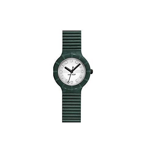 Orologio HIP HOP donna CRYSTAL quadrante bianco e cinturino in poliuretano, glam verde, movimento SOLO TEMPO - 3H QUARZO