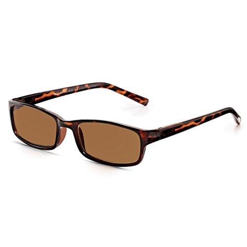 Read Optics Sonnen-Lesebrille mit Vollrahmen: Sonnenbrille mit 100% UV Schutz, blendfrei und mit mit Premium-Rayguard™ Technologie. In braunem Schildpatt Design. Für Herren und Damen in Stärke +1,5
