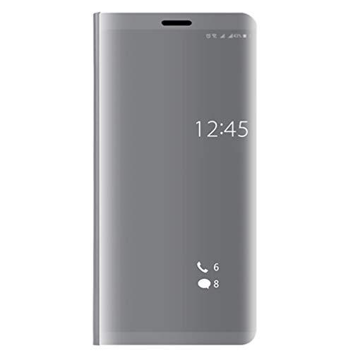 WEQQ Clear Mirror Smart Case Flip Stand Case Funda Protectora para teléfono para Huawei (Plateado para Huawei 8lite)