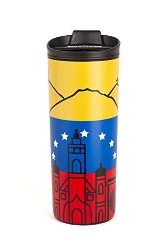Costablue Venezuela Vakuum-isolierte Edelstahl-Thermobecher, 473 ml, leicht zu reinigen & auslaufsicherer Deckel, Farben der venezüelischen Flagge mit Symbolen von Caracas.