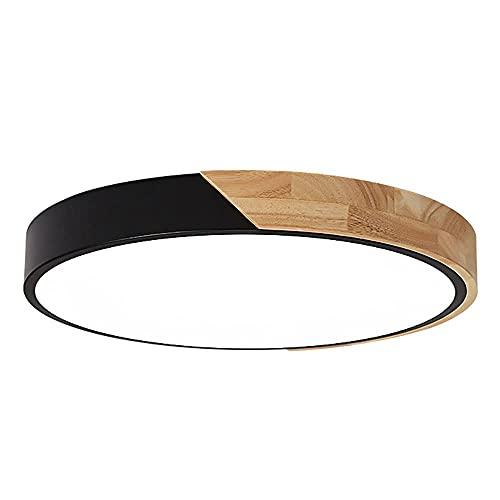 Lámpara de techo LED redonda negra Lámpara de techo ultrafina minimalista moderna Lámpara de atenuación de tres colores incorporada para oficina Cocina Pasillo Luz plana Luz de techo para dormitorio