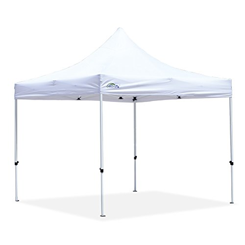 Goutime 10x10Ft (3m*3m) Easy Pop Up Canopy Tent Gazebo Marquee Commercial Tents Portable Foldable Instant Shelter with Wheeled Carry Bag, Events Beach Market Waterproof White