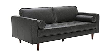 Rivet Aiden Mid-Century Leather Sectional with Tapered Wood Legs