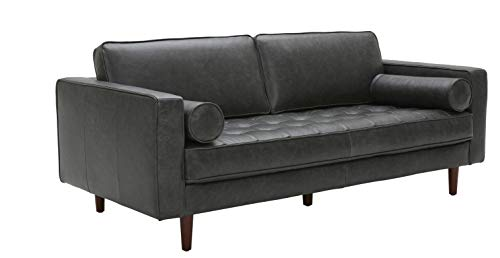 """Amazon Brand – Rivet Aiden Mid-Century Leather Sofa with Tapered Wood Legs, 74""""W, Black"""
