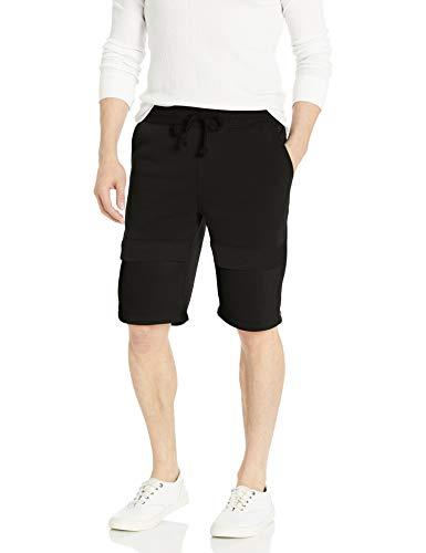 Southpole Men's Fleece Jogger Shorts, Black/Color Block, Large