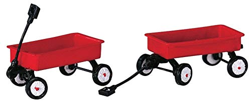 2004 Red Wagons Set of 2 Christmas Village Accessories by Lemax