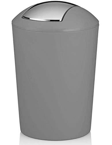 MERCURY TEXTIL - Papelera con Tapa oscilante, Cubo de Basura para baño de plástico (5 litros, Gris)