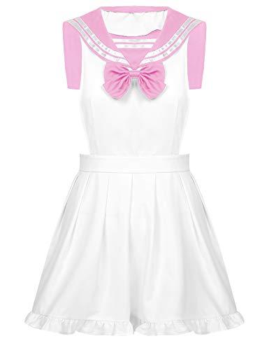 TiaoBug Sailor Moo Manga Crystal Cosplay Kostüm Sailor Venus Kostüm Schulmädchen-Matrose Uniform Anime Matrosen Kostüm Verkleidung Matrosenkleid Pink Schürze OneSize