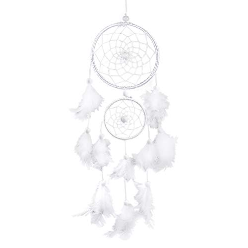 Zerodis White Dream Catcher wind chimes handgemaakte parels veer dream catcher voor auto kinderen bed kamer wandbehang decoratie