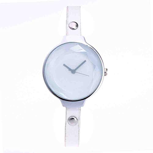DECTN Reloj de Pulsera Nuevo Reloj para Mujer con Estilo Personalizado Vidriera Cinturón Fino Reloj Casual para Mujer Blanco