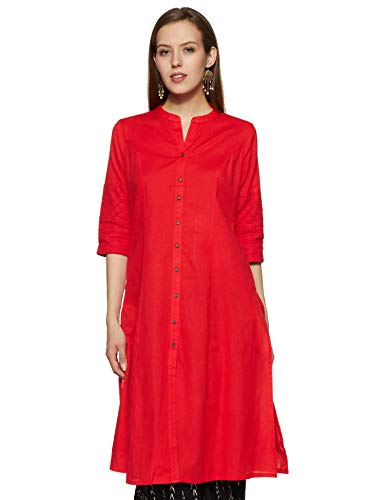 Rangmanch by Pantaloons Women's Cotton a-line Kurta (110050051_Coral_Small)