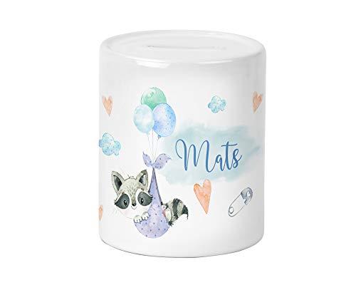 Yuweli Baby Waschbär Spardose für Kinder Jungen und Mädchen mit Namen personalisiert zur Einschulung Taufe Geburtstag Geburt Sparschwein Geldgeschenk Kinderspardose