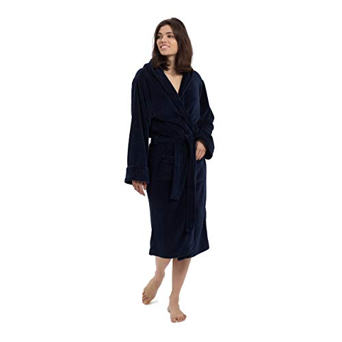 Lumaland Luxury Mikrofaser Bademantel mit Kapuze für Damen und Herren verschiedene Größen und Farben Navy Blue M