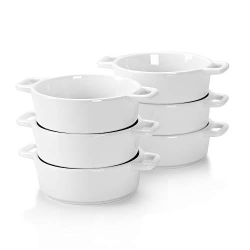 LOVECASA Fuente para Horno Pastelería, Juego de 6 Mini 200ML Moldes para hornear de Porcelana Esmaltados para Tartas, Lasaña, Pastel, Soufflé 14CM, Ovalada
